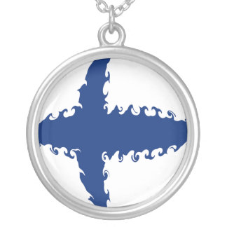 Finland Gnarly Flag Round Pendant Necklace