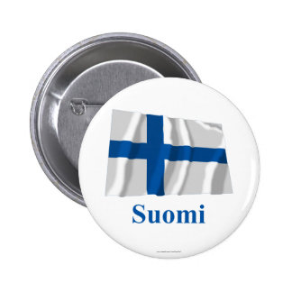 Finland Waving Flag with Name in Finnish 6 Cm Round Badge