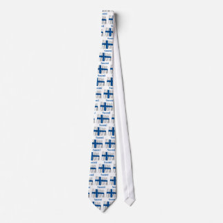 Finland Waving Flag with Name in Finnish Tie