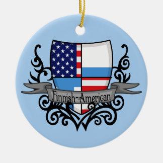 Finnish-American Shield Flag Round Ceramic Decoration
