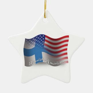 Finnish-American Waving Flag Ceramic Star Decoration