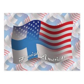 Finnish-American Waving Flag Postcard