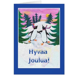 Finnish Christmas Card - Skating Penguins