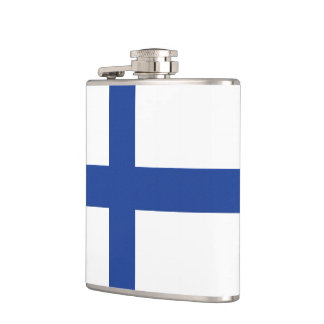Finnish Flag custom monogram flask