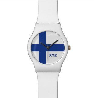 Finnish Flag custom monogram watches