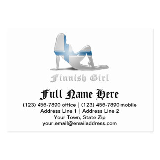 Finnish Girl Silhouette Flag Large Business Cards (Pack Of 100)