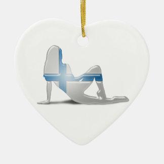 Finnish Girl Silhouette Flag Ceramic Heart Decoration