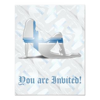 Finnish Girl Silhouette Flag 4.25x5.5 Paper Invitation Card