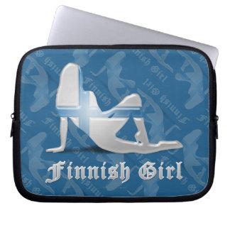 Finnish Girl Silhouette Flag Laptop Sleeves