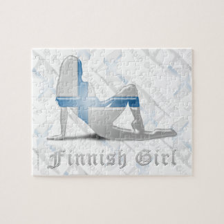 Finnish Girl Silhouette Flag Puzzle