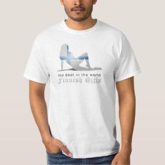 Finnish Girl Silhouette Flag T-Shirt