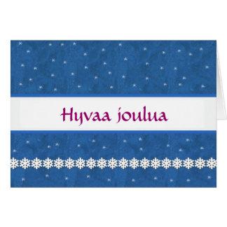 FINNISH Hyvaa joulua Snowflakes BLUE  Background Greeting Card