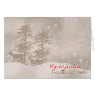 Finnish Language Happy Holidays Stylish Christmas Greeting Card