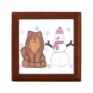 Finnish Lapphund And Snowman Small Square Gift Box