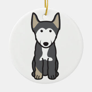 Finnish Lapphund Dog Cartoon Round Ceramic Decoration