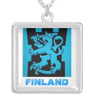 Finnish Lion Square Pendant Necklace