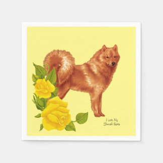 Finnish Spitz and Yellow Roses Disposable Napkins