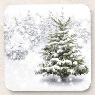 Fir Tree In Thick Snow Coaster