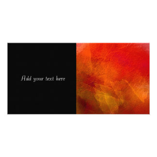 Fire - Abstract Background Art in Deep Orange Personalized Photo Card