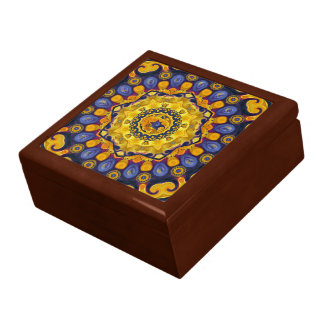 Fire and Ice Blue Mandala Ceramic Tile Box