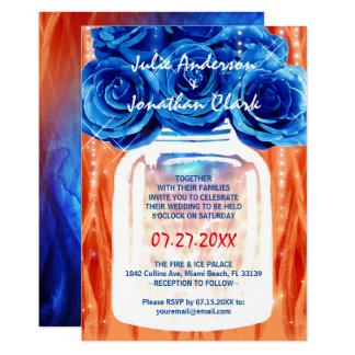 Fire and ice Wedding Invitations | Blue and Orange