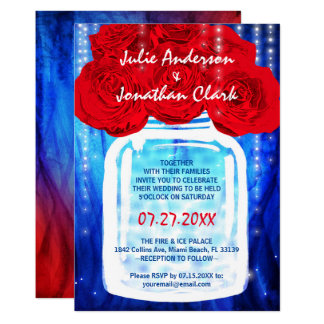 Fire and Ice Wedding Invitations | Red and Blue