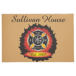 Fire and Rescue Flames Firefighter Doormat