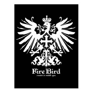 Fire bird vintage classical graphic (white ver.) postcard