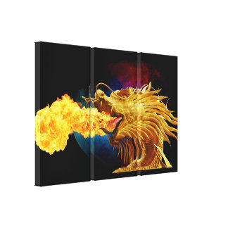 Fire Breathing Dragon 3 Piece Art Wall Canvas Stretched Canvas Print