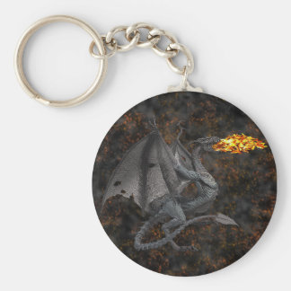 Fire-Breathing Dragon Basic Round Button Key Ring