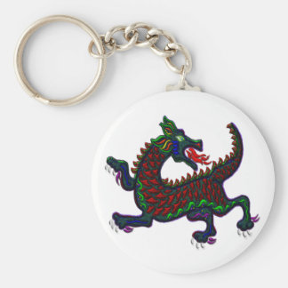 Fire Breathing Dragon Basic Round Button Key Ring