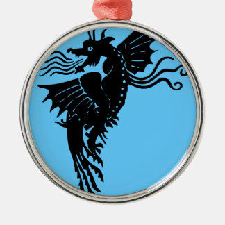 Fire Breathing Dragon Silver-Colored Round Decoration