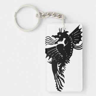 Fire Breathing Dragon Double-Sided Rectangular Acrylic Key Ring