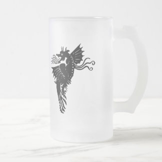 Fire Breathing Dragon Frosted Glass Mug
