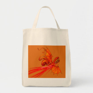 Fire breathing dragon grocery tote bag