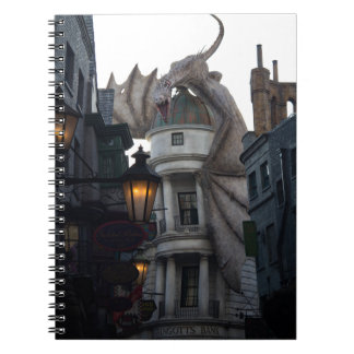 Fire breathing Dragon protecting wizard's bank Spiral Notebook