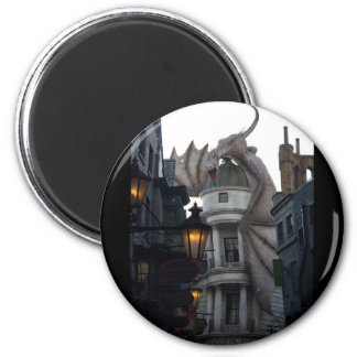 Fire breathing Dragon protecting wizard's bank 6 Cm Round Magnet
