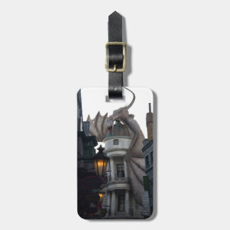 Fire breathing Dragon protecting wizard's bank Bag Tag