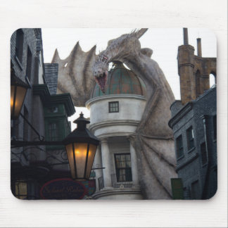 Fire breathing Dragon protecting wizard's bank Mouse Pad