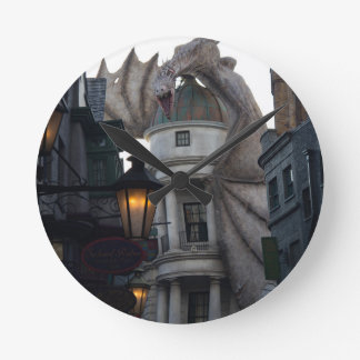 Fire breathing Dragon protecting wizard's bank Wall Clocks