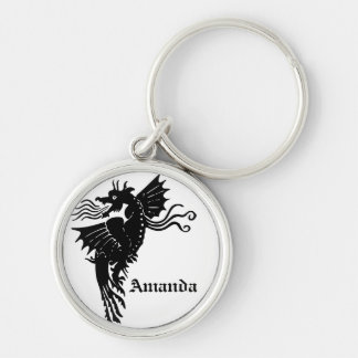 Fire Breathing Dragon Silver-Colored Round Key Ring