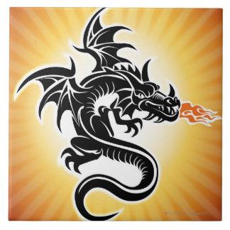 Fire breathing dragon ceramic tiles