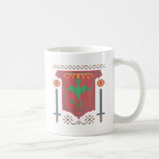 Fire Breathing Dragon Ugly Sweater Design Basic White Mug