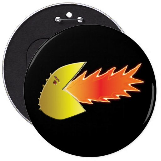 Fire-Breathing Head Graphic Button