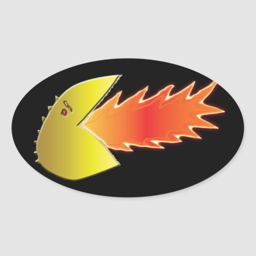 Fire-Breathing Head Oval Sticker