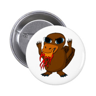 Fire Breathing Platypus 6 Cm Round Badge