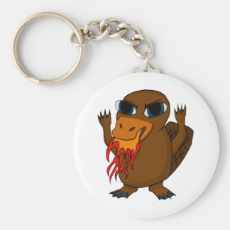 Fire Breathing Platypus Basic Round Button Key Ring