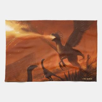 Fire-Breathing Prehistoric Dinosaur by Jake Murray Kitchen Towel