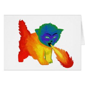 Fire Breathing Rainbow Kitten Greeting Card