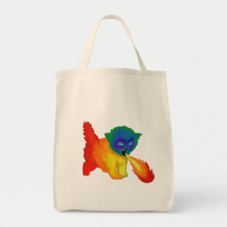Fire Breathing Rainbow Kitten Tote Grocery Tote Bag